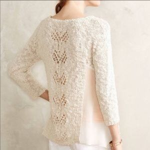 Anthropologie | Knitted Knotted Cream Sweater